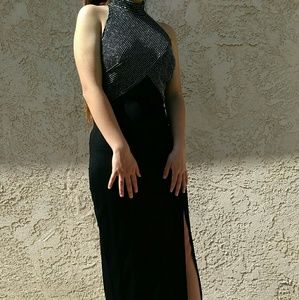 TADASHI Shoji Long Black Metallic Top Dress